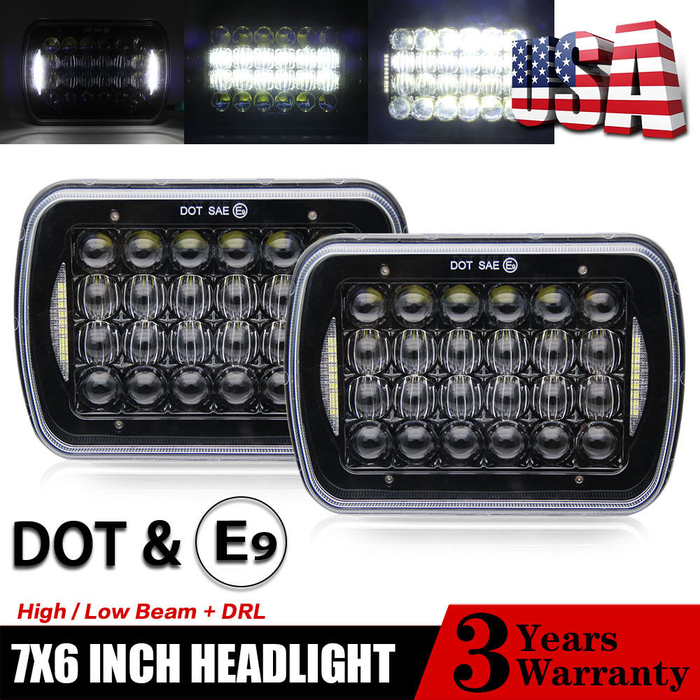 COLIGHT 5D 7x6 Rectangular LED Headlight High/ Low beam with Angel eyes DRL for Harvester 4700 4800 4900 8100 Jeep Cherokee XJ