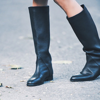 Women Black Knee High Round Toe Boots Ladies Winter Flat Heel Retro Design Vintage Shoes Female