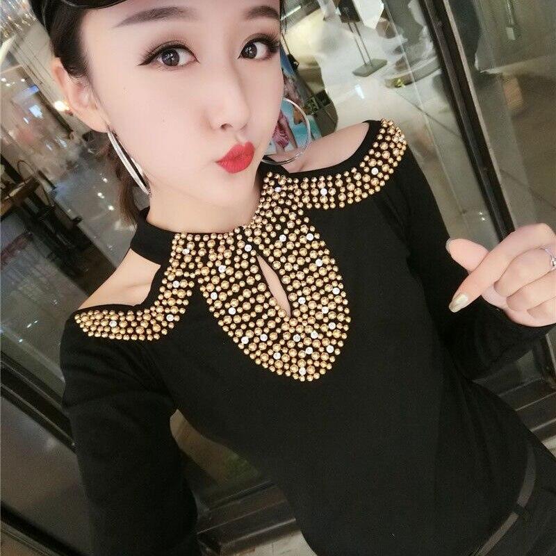 2019 Autumn Long Sleeve V Neck Leopard beading jersey Blouses Women European Style Bead Work solid Shirts Women Satin Shirt Tops