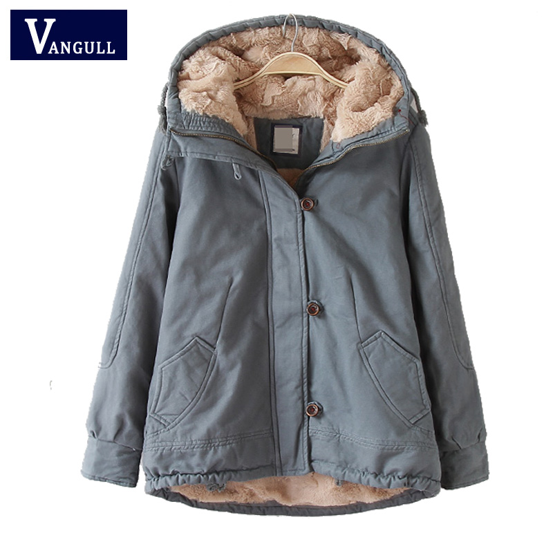 Vangull Hood padded   parka   winter jacket women coat Fur warm pocket zipper winter overcoat Snow wear thick jacket coat female