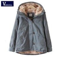 Vangull Hood padded parka winter jacket women coat Fur warm pocket zipper winter overcoat Snow wear thick jacket coat female
