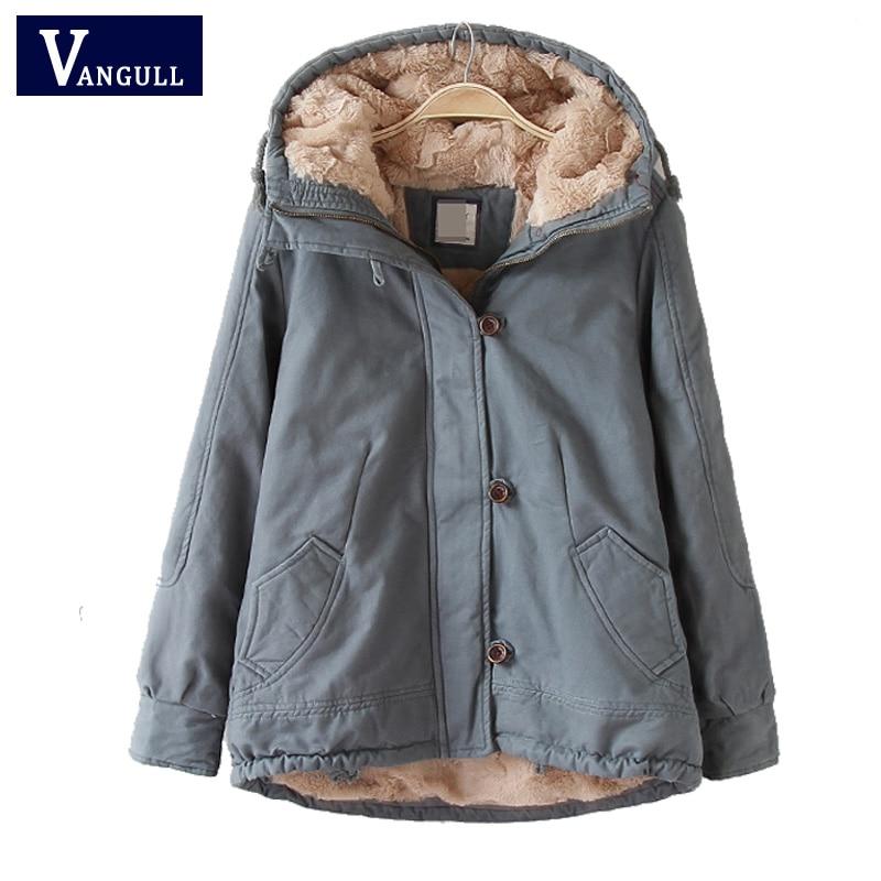 Vangull Hood padded parka winter jacket women coat Fur warm pocket zipper winter overcoat Snow wear thick jacket coat female-in Parkas from Women's Clothing    1