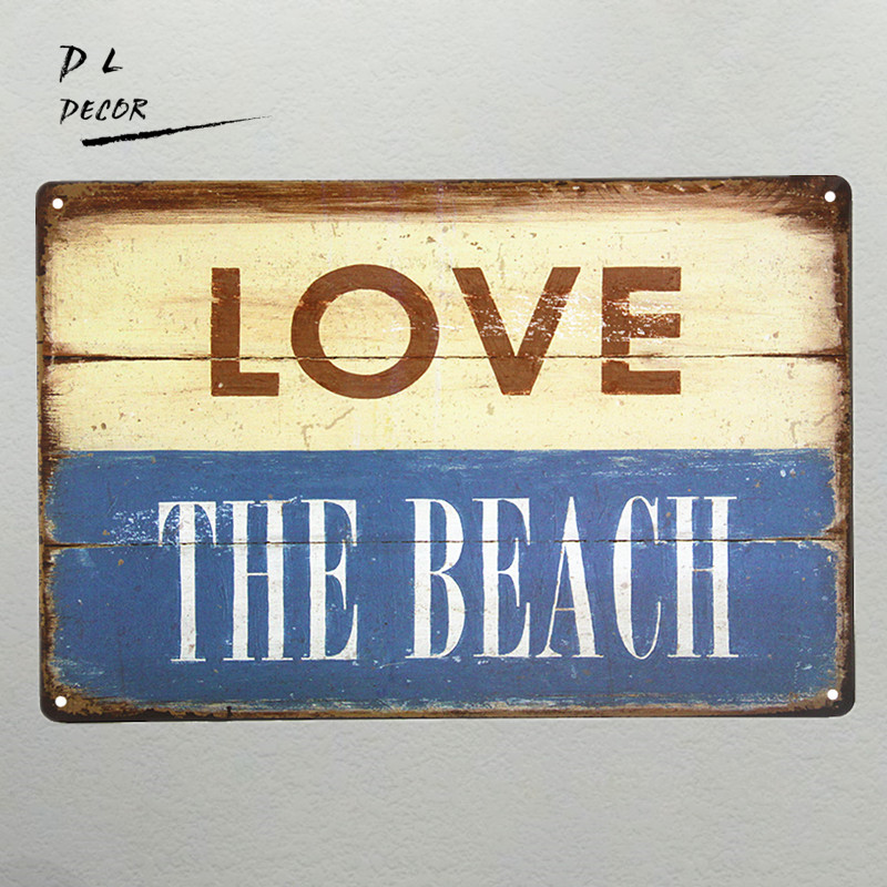 DL LOVE the Beach Metal Sign, tropical beach house decor cafe shop ...