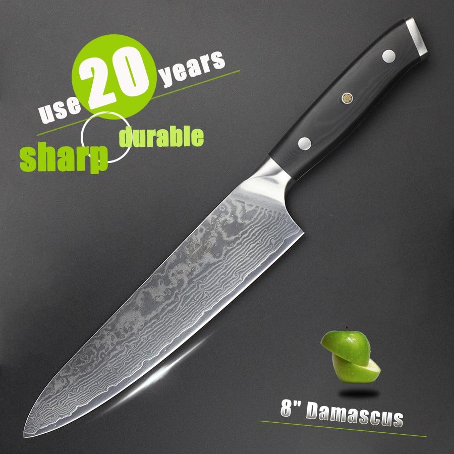 """HAOYE 8 """"дамаски готвач нож японски vg10 стомана кухненски ножове g10 дръжка ръчно изработени луксозни ядки месо риба."""