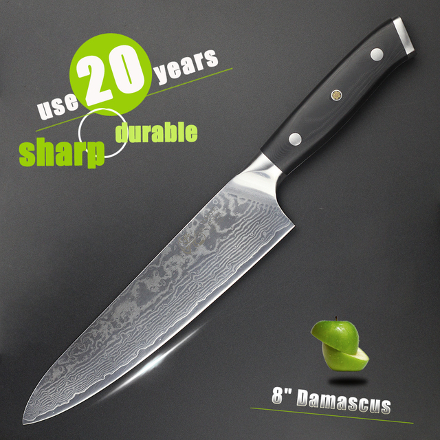haoye 8 damascus chef knife japanese vg10 steel kitchen knives g10