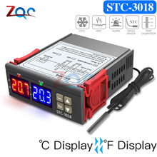DC 12V 24V AC 110V-220V Dual Digital Temperature Controller C/F Thermostat Thermoregulator Incubator 10A Relay Heating Cooling(China)