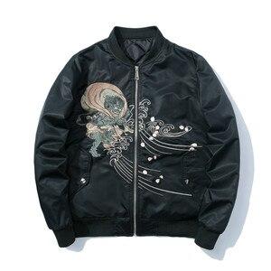 Image 2 - Куртка бомбер для мужчин с вышивкой; Одежда с рисунком из аниме куртка пилота Harajuku Японская уличная одежда бейсбольная куртка для девочек толстое теплое Молодежная Повседневная Новая