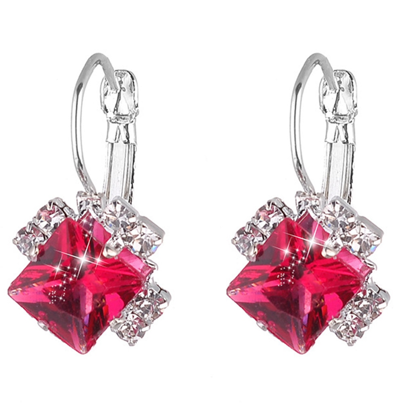 1Pair Fashion 2019Stone Rhinestones White Red Square Crystal Drop Earrings For Women  Statement Wedding Jewelry Pendientes Mujer
