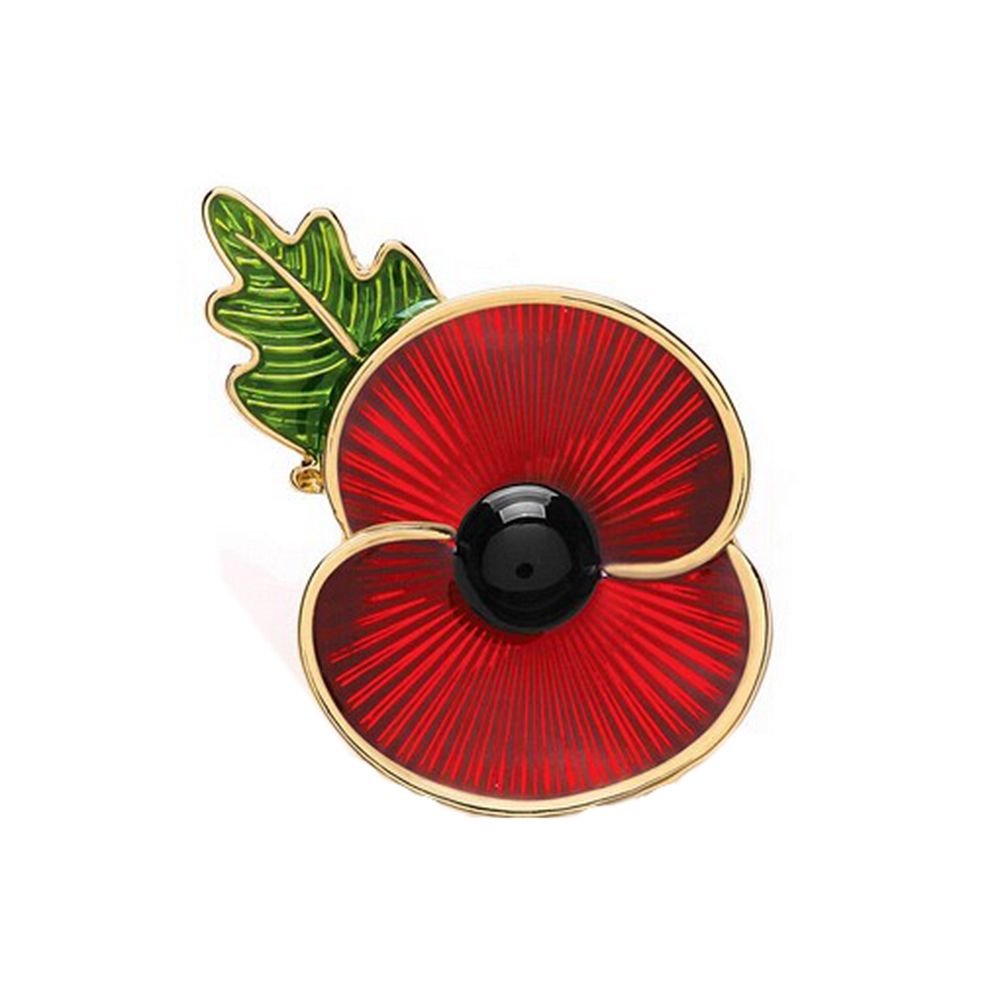 Big Deal Gold Tone Red Enamel British Poppy Brooch Flower Pin With