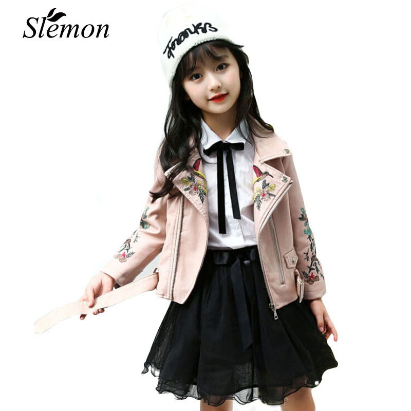 2018 New Spring Cool Girls Pu Leather Jacket Embroidery Autumn Chic Children Kids Punk Clothes Coats 5 6 7 8 9 10 11 12 13 Years 2016 new spring girls coats double breasted leather round neck with belt and bow high quality 4 8 years old kids clothes