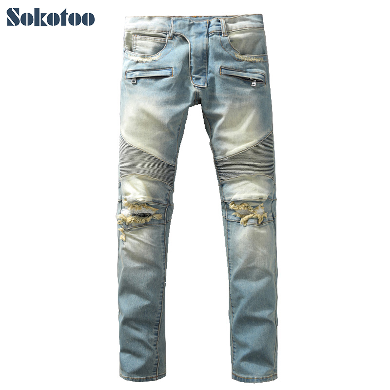 ФОТО Sokotoo Men's fashion vintage washed blue holes ripped biker jeans Slim straight stretch denim pants Long trousers