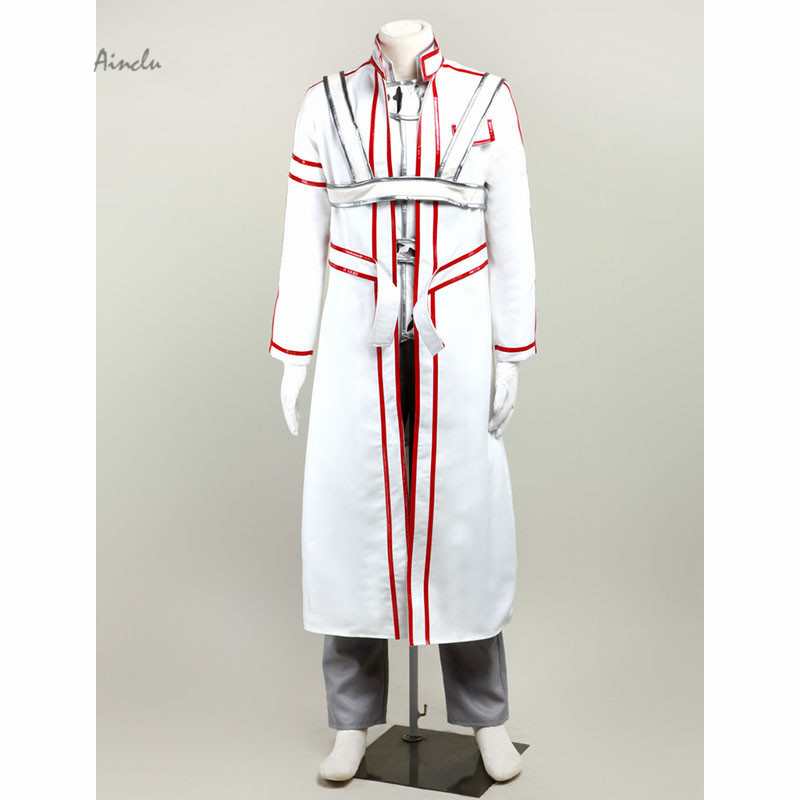 Ainclu Free Shipping costume Japanese Anime sword Art Online Kirito Cosplay Costume White For Adult costume