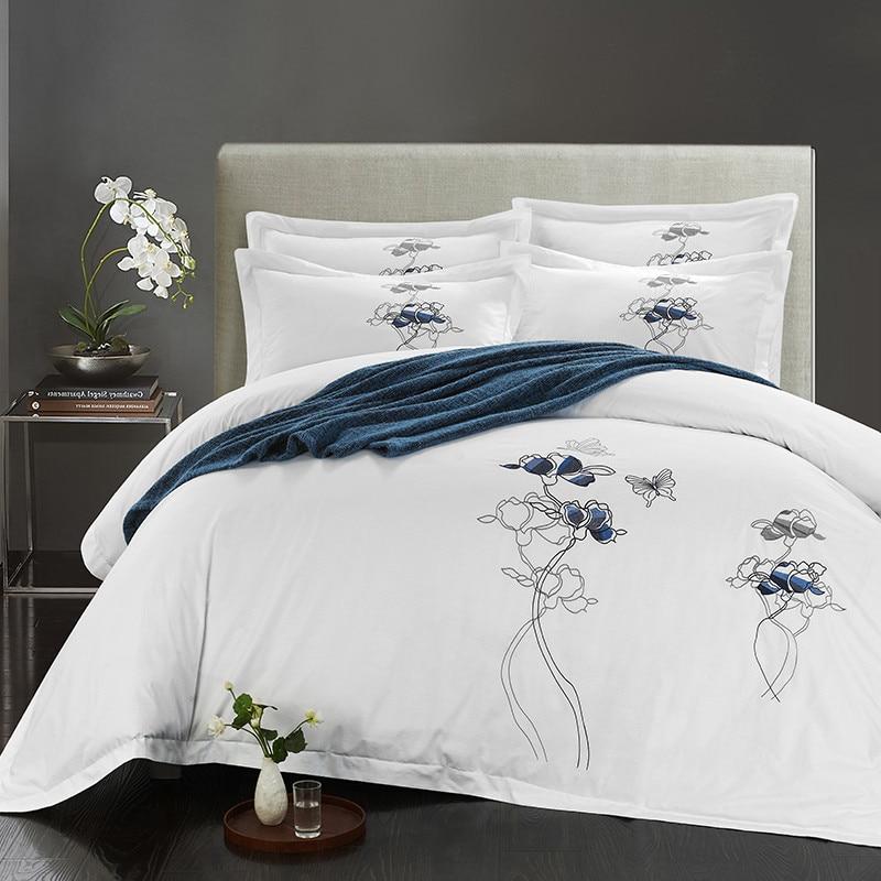 ผ้าฝ้าย 100% สีขาวปักชุด 4/6 ชิ้นสีขาวผ้าปูที่นอนชุดผ้านวมหมอนคู่ King queen ขนาด-ใน ชุดเครื่องนอน จาก บ้านและสวน บน   2