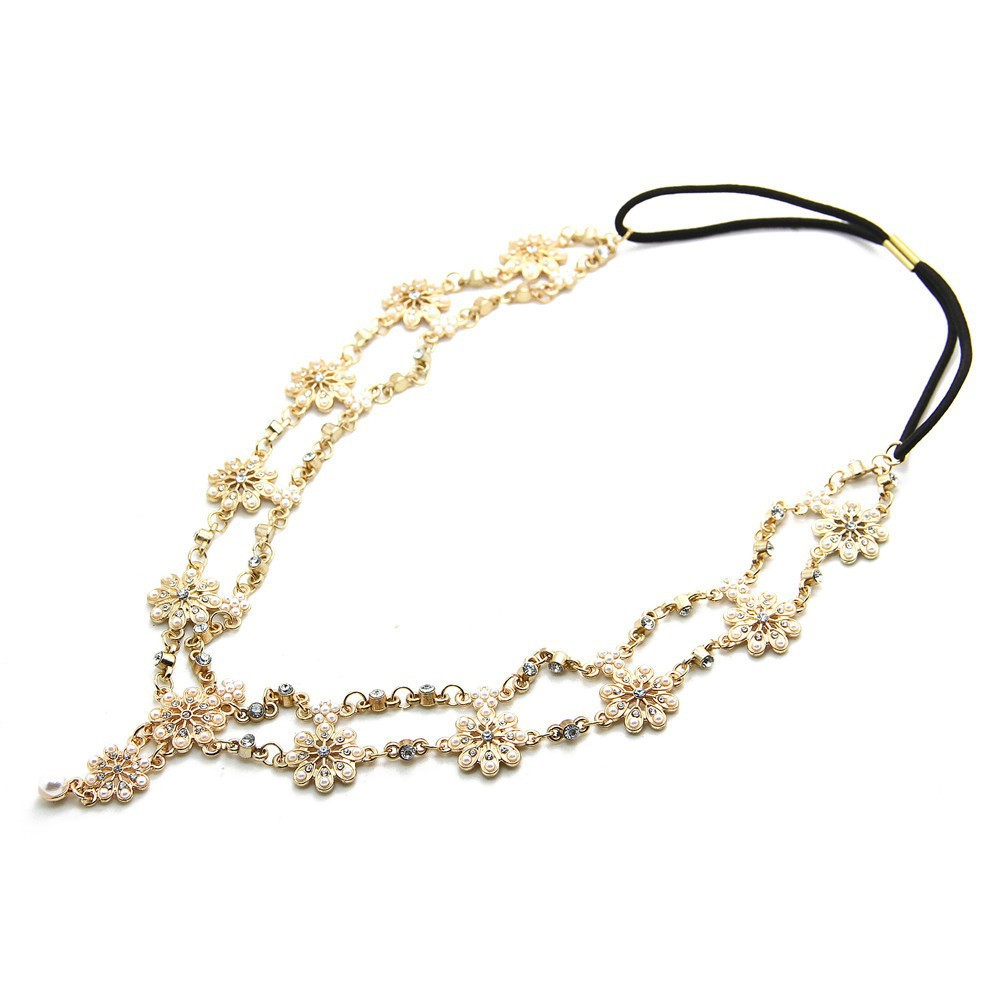 2018 Pearl Tassel Flower Stretch Headband Hair Band Wedding Accessories Crystal Bridal Hair Accessories Head Chain Hair Jewelry 4