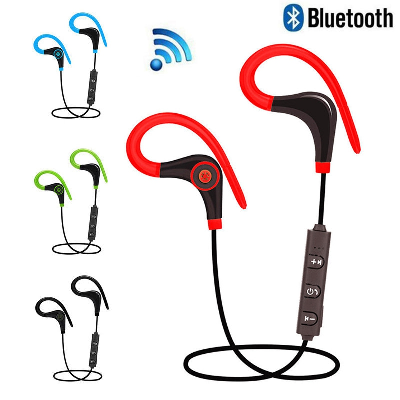 2017 New Portable Mini Earhook Wireless Bluetooth Stereo Sport Headset Earphone With Mic For iPhone Samsung with Charging Cable ttlife new mini stereo car kit bluetooth headset wireless earphone handsfree auriculares with mic with charging dock for iphone