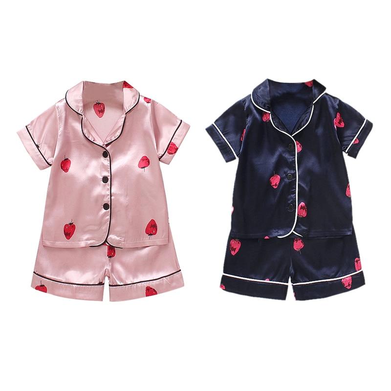 Summer New Kid Girls Cotton Strawberry Print   Pajamas   Boy Homewear Children Loungewear Sleepwear   Sets   Nightgown 1-4T