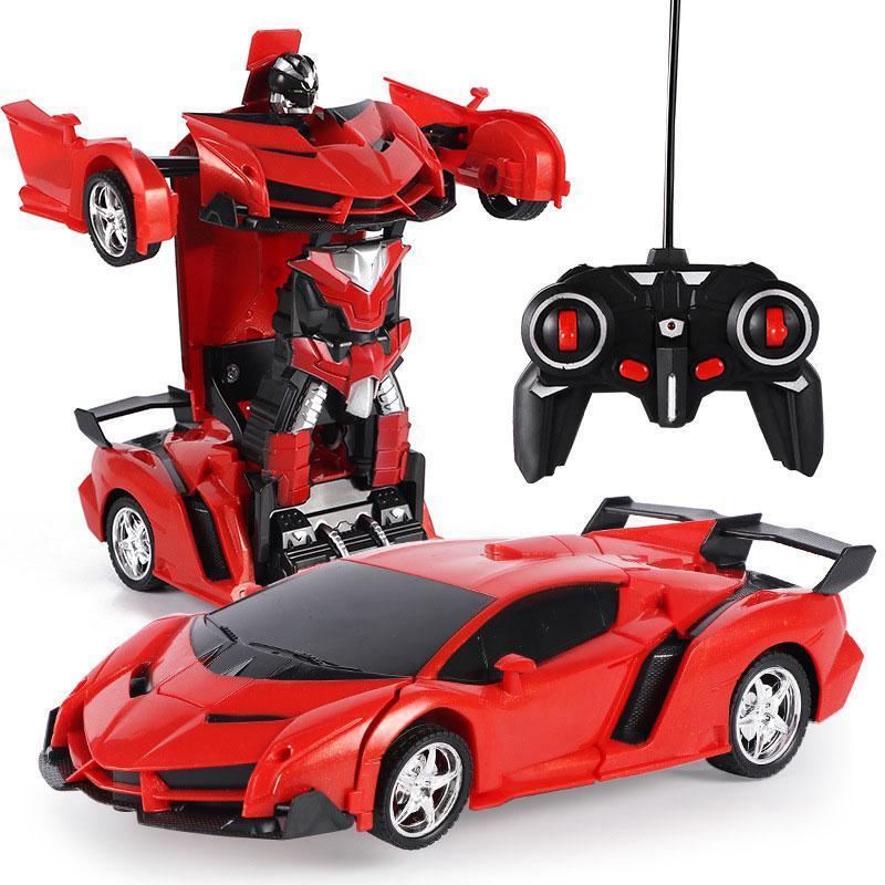 Remote Control Deformation Robot Police Car Anti drop RC One Button Deformating Car Robot Deformation toys for Kids Children