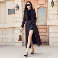 New 2018 Autumn Winter Coat Women Wool Blends Jacket Coat Female Woolen Overcoat Double Breasted Turn down Collar Long Outerwear