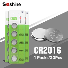 цена на Soshine 20pcs/lot CR2016 3V Lithium Battery DL2016 ECR2016 LM2016 BR2016 CR 2016 Button Coin Cell Batteries For Watch Computer