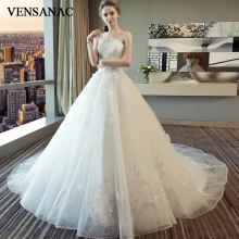 VENSANAC 2018 Pearls Pleat Strapless Lace Appliques Ball Gown Wedding Dresses Off The Shoulder Court Train Bridal Gowns