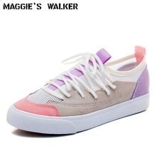 Maggie's Walker Women Fashion Mesh Canvas Casual Shoes Lacing Platform Patchwork Summer Out-door Shoes Size 35-40