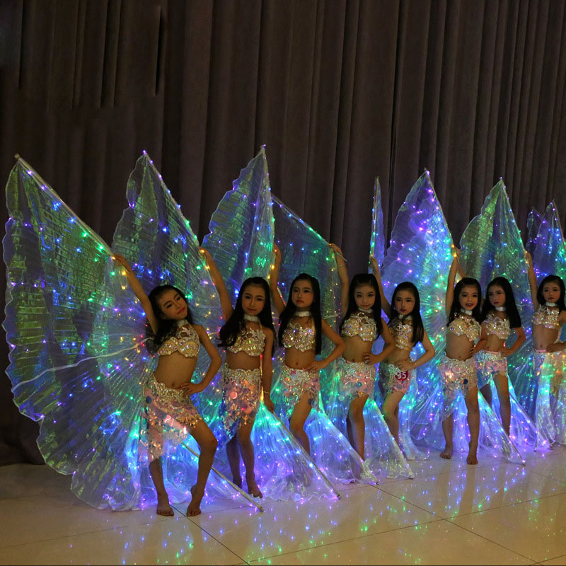 Image 2 - Girls Colors LED Light Belly Dance Isis Angel Wings Butterfly Costume for Kids Oriental Bellydance Performance Dancing Accessory-in Belly Dancing from Novelty & Special Use