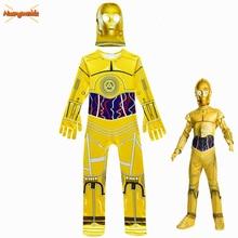 키즈 점프 슈트 영화 스타 워즈 코스튬 로봇 코스프레 키즈 축제 파티 용품 할로윈 의상 로봇 C 3PO 보이즈 헤드 기어