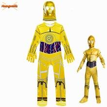 Çocuk tulumları film Star Wars kostümleri Robot Cosplay çocuk şenlikli parti malzemeleri cadılar bayramı kostüm Robot C 3PO erkek başlık