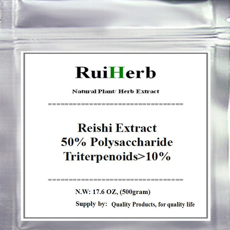 Reishi (Lingzhi) Mushroom Extract 50% Polysaccharide Triterpenoids>10% Powder 500gram free shipping 1pack 100% natural pleurotus ferulae extract powder 30% polysaccharide 500mb x 300caps enhance the bodys immune