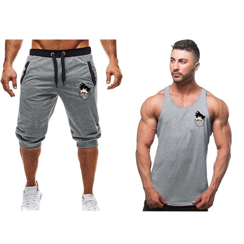 2019 Hot Selling Summer New Man's Vest suit+Shorts Fashion Dragon Ball Goku print Sweatpants Fitness Short Jogger M 2XL