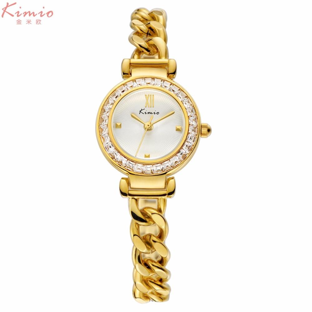 women watches KIMIO brand bracelet quartz watch Lady Rhinestone Watches fashion stainless steel band rose gold gift wristwatches