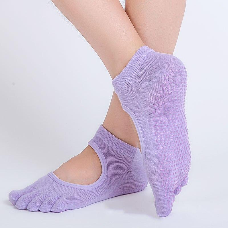 ①  6 сплошных цветов пять пальцев на ногах нескользящие носки летние женщины танец тренажерный зал спор ★