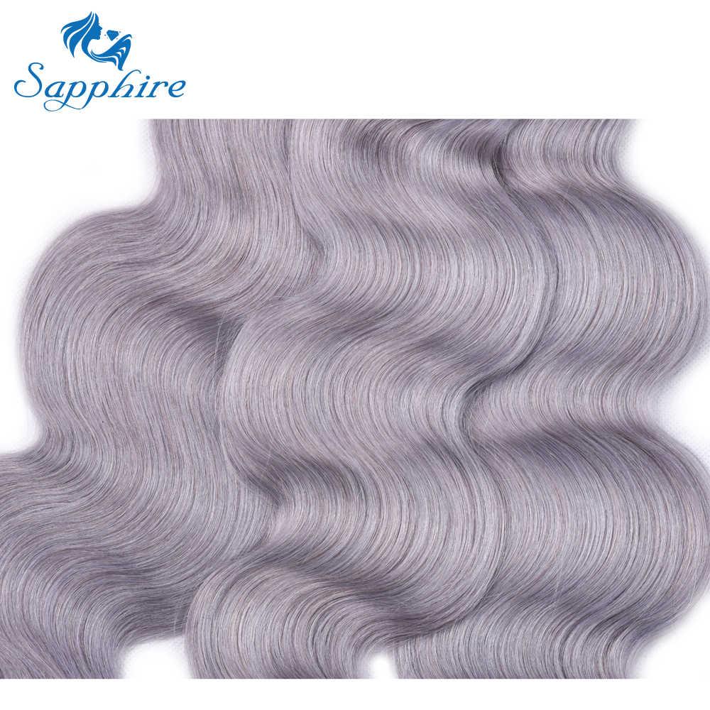 Сапфир 3 пучка с ушками на ухо фронтальная чистая серая Малазийская волна тела волос 3 человеческие волосы пучки с 13*4 Кружева Фронтальные предложения