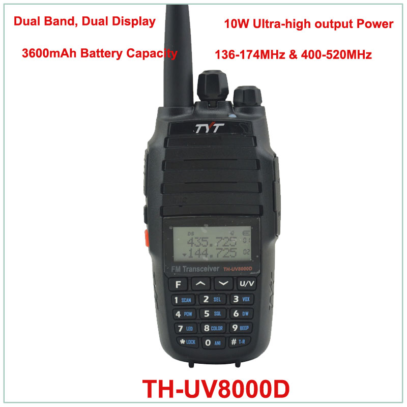 TYT TH UV8000D Dual Band VHF136 174/UHF400 520MHz Two Way Radio 10W FM THUV8000D Transceiver Radio Handheld Walkie Talkie