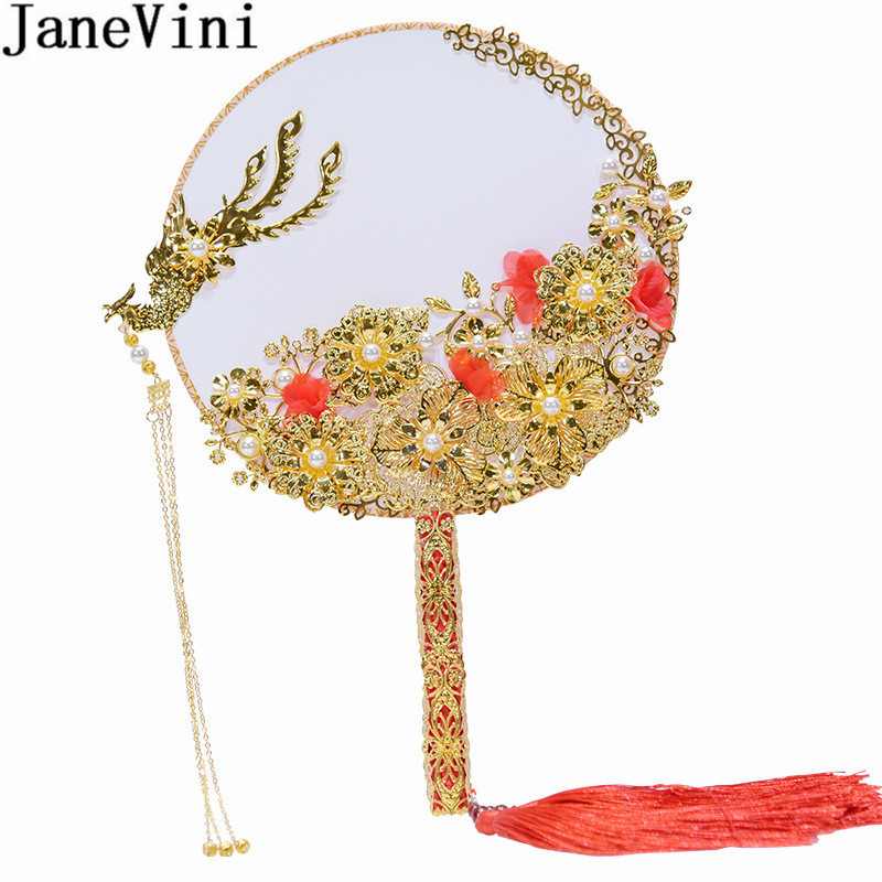 JaneVini New Chinese Style Bridal Flower Bouquet Pearls