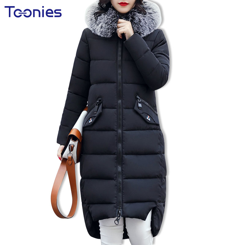 Winter Long Hooded Ukraine Parka Womens Long Zipper Cotton Padded Large Fur Hooded Overcoat Female Jacket