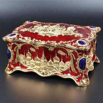Castle Carved Jewellery Box Multi-colors Enamelled Decoration