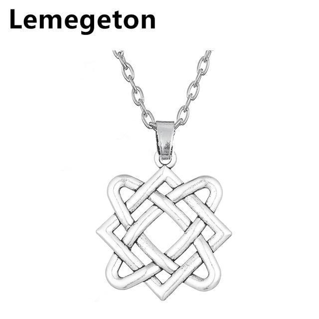 Lemegeton Irish Knot Square Charm Necklace Ethnic Necklace For Women