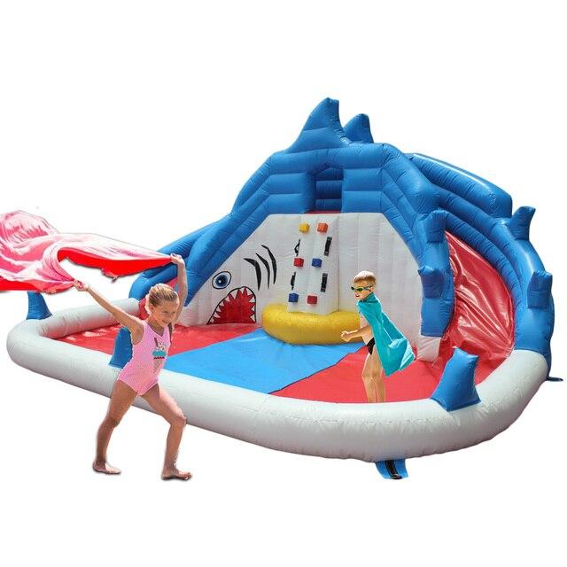 YARD Надувной Водной Горкой Акула Аквапарк Плавательный Бассейн Открытый Весело Игрушки для Детей Партия Специальное Предложение для Ближнего Востока