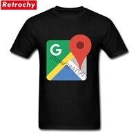 2017 Swag Erkekler Şık Fit Tees Gömlek google maps için logo Kısa Kollu Yaz T-Shirt Aile Artı Boyutu Mal