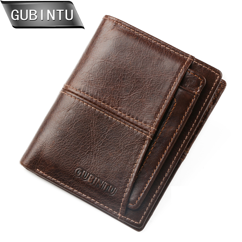 GUBINTU Casual Genuine Leather Men Wallets and Purses With Removable Credit Card Holder Short Zipper Pocker Purse carteira