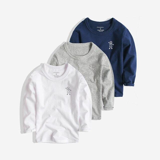 Чэн Парк мальчиков с длинным рукавом футболка 2017 новых мальчиков дети чистая белая рубашка блузка