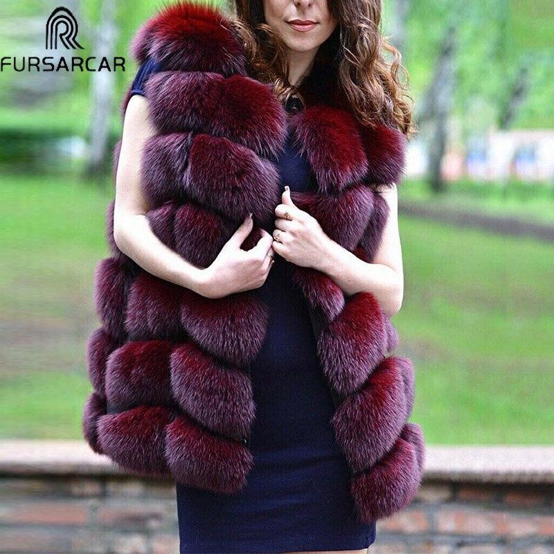 FURSARCAR Fashion Natural Fox Fur Vest For Women Winter Fur Jacket 2018 Luxury Female Warm Thick Genuine Fox Winter Fur Coat