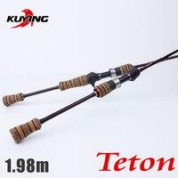 Kuying teton 1.98 متر الغزل الناعمة إغراء الصيد رود القطب قصب الضوء 2 أقسام الكربون الألياف متوسط العمل السريع ل 2-10 جرام