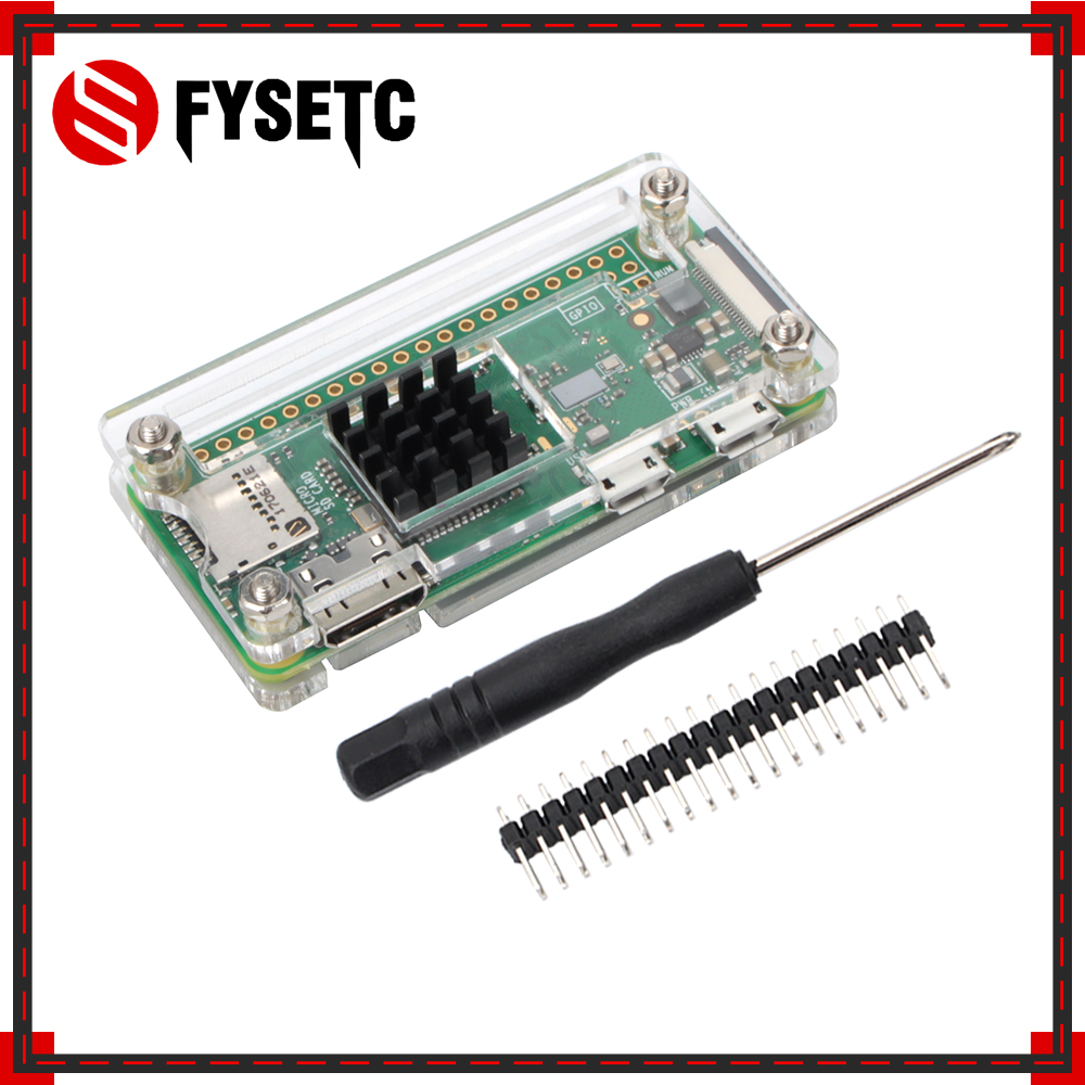 Raspberry Pi Zero W 4 In 1 Kit Transparent Acrylic Case + Heat Sink + Screwdriver + GPIO Connector For Raspberry Pi Zero V1.3