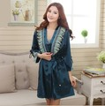 Free shipping floss silk  spring solid color lace decoration twinset long-sleeve hanging skirts silk robe set