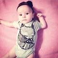 Estilo do verão do Algodão Padrão Raposa Bebê Pulôver de Manga Curta Bodysuit Macacões Da Moda Corpo Do Bebê Meninos Recém-nascidos Meninas Roupas Bebes