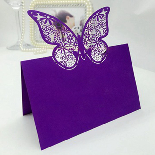 100pcs Purple Butterfly Laser Cut Wedding Party Table Name Place Cards Decoration Favors And