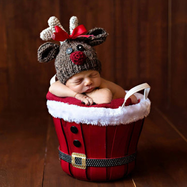 Newborn Photography Props Newborn Baby Hat Infant Wool Knitted Caps  Christmas Deer Costume Xmas Hat Baby Photo Prop Cap Costume f2770ca1b327