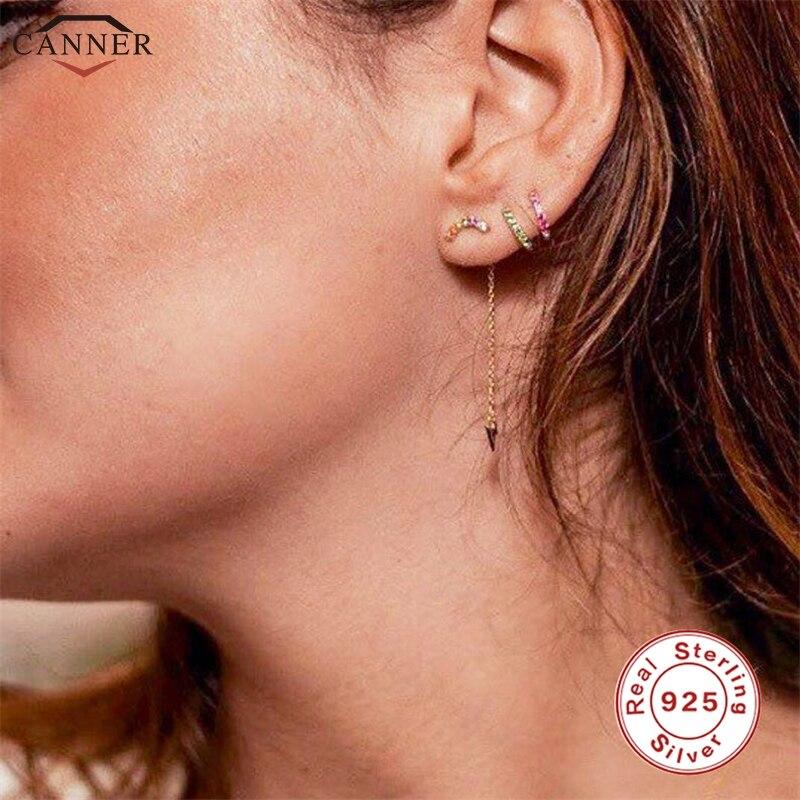 CANNER 925 Sterling Silver Earrings for Women Tassel Earings 2019 Zircon Lightning Long Dangle Earrings Gold Color Jewelry H40